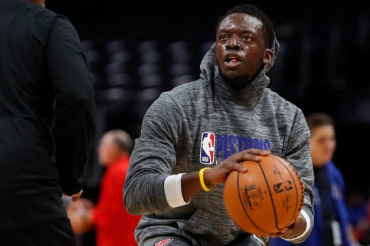 Detroit Pistons guard Reggie Jackson warms up before the game against the Chicago Bulls at Little Caesars Arena, Jan. 11, 2020.