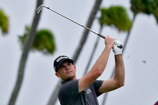 Brendan Steele hits from the 17th tee during the third round of the Sony Open PGA Tour Saturday.