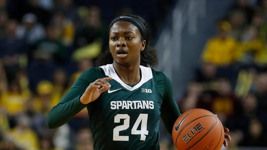 Michigan State guard Nia Clouden had a game-high 20 in the Spartans' 69-52 over the Badgers on Sunday.