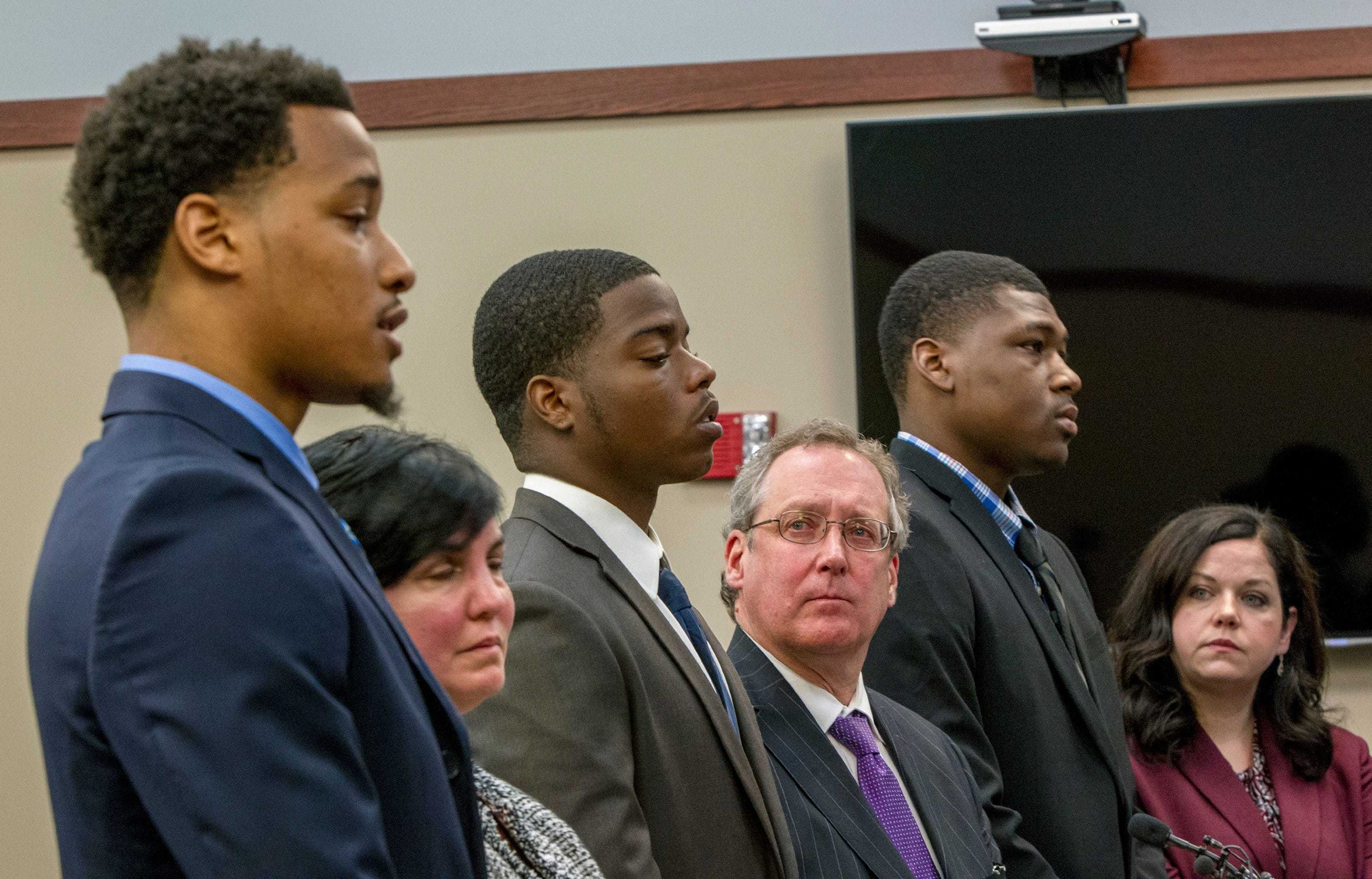 Former Michigan State football players, from left, Demetric Vance, Donnie Corley and Josh King appear for their sentencing in June 2018 at Ingham County 30th Circuit Court in Lansing.
