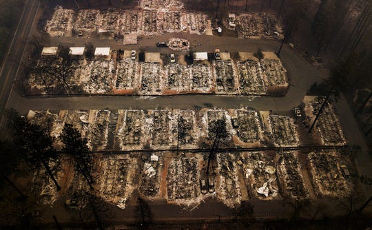 This Nov. 15, 2018, aerial file photo, shows the remains of residences leveled by the Camp Fire in Paradise, Calif.