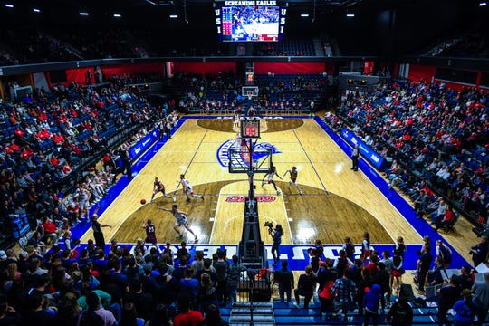 The University of Southern Indiana Screaming Eagles play the Bellarmine Knights in a double header at Screaming Eagle Arena Saturday, January 11, 2020.