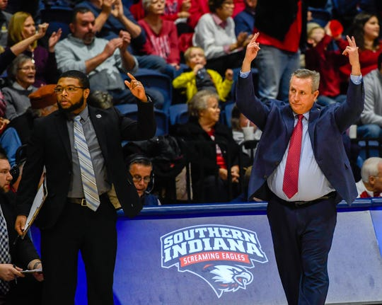 University of Southern Indiana head coach Rodney Watson reacts to play on the floor as the University of Southern Indiana Screaming Eagles play the Bellarmine Knights in a double header at Screaming Eagle Arena Saturday, January 11, 2020.