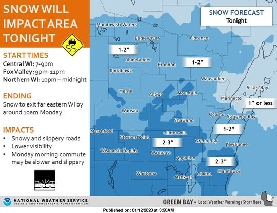 Fans traveling home after the game tonight could expect to see 1 to 3 inches of snow in the area.