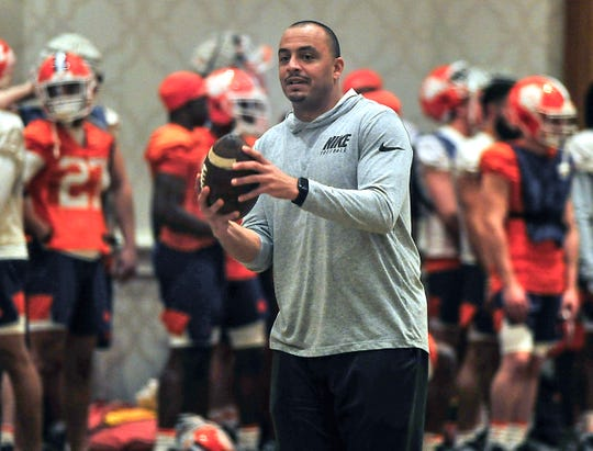 The CFP practice for Clemson was moved to their hotel the Hilton Riverside.  The practice took place on Jan. 11. Clemson will play LSU for the 2020 College Football Playoff National Championship at 8 p.m. ET on Monday, Jan. 13, in New Orleans. Clemson football co-offensive coordinator Tony Elliott on the field.