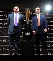The College Football Playoff National Championship Head Coaches News Conference was held on Jan. 12, 2020 at the Grand Ballroom in the New Orleans Sheraton Hotel.  LSU's Head Coach Ed Orgeron, left, and Clemson's Head Coach Dabo Swinney made remarks and took questions from the press.