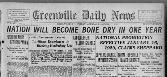 A screenshot of The Greenville News archives as it relates to prohibition.