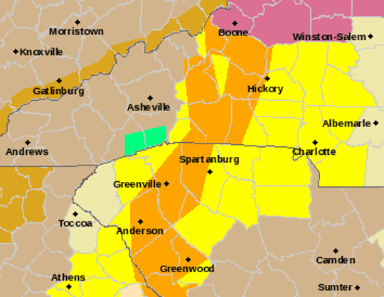 A Severe Thunderstorm Warning, shown in orange, was issued to reach Greenville County at 8:29 p.m. Saturday, Jan. 11.