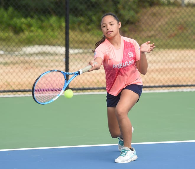 Junior national tennis player Amelie Perez-Terlaje warms up during a Guam National Tennis Federation membership drive at the Guam National Tennis Center in Dededo in this Jan. 12, 2020, file photo.
