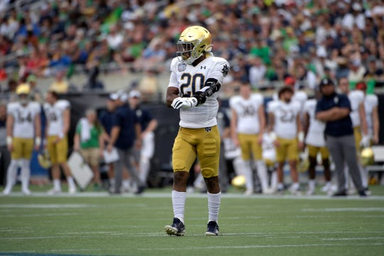 Notre Dame cornerback Shaun Crawford (20) sets up for a play during the first half of the Camping World Bowl NCAA college football game against Iowa State Saturday, Dec. 28, 2019, in Orlando, Fla.