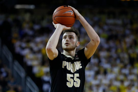 Purdue guard Sasha Stefanovic (55) shoots against Michigan in the first half of an NCAA college basketball game in Ann Arbor, Mich., Thursday, Jan. 9, 2020. (AP Photo/Paul Sancya)