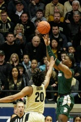Michigan State forward Aaron Henry, Aaron shoots during the first half Sunday, Jan. 12, 2020 at Mackey Arena in West Lafayette.