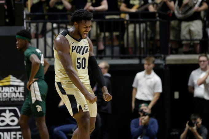 Purdue forward Trevion Williams (50) celebrates during the second half of a NCAA men's basketball game, Sunday, Jan. 12, 2020 at Mackey Arena in West Lafayette.