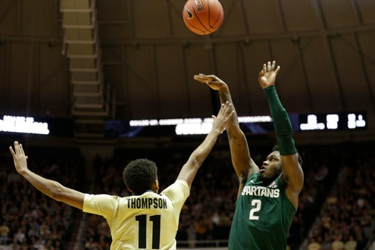 Michigan State guard Rocket Watts (2) shoots over Purdue guard Isaiah Thompson (11) during the first half of a NCAA men's basketball game, Sunday, Jan. 12, 2020 at Mackey Arena in West Lafayette.
