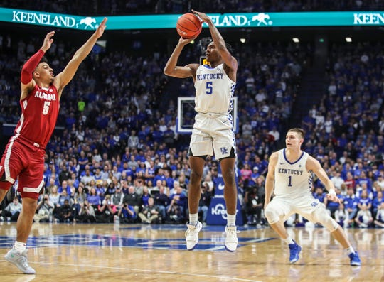 Kentucky's Immanuel Quickley hits this three -- one of his four made -- against Alabama. Jan. 11, 2020