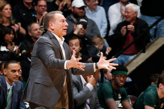 Jan 12, 2020; West Lafayette, Indiana, USA; Michigan State Spartans coach Tom Izzo coaches on the sidelines against the Purdue Boilermakers during the second half at Mackey Arena. Mandatory Credit: Brian Spurlock-USA TODAY Sports