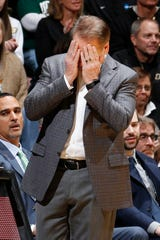 Jan 12, 2020; West Lafayette, Indiana, USA;  Michigan State Spartans coach Tom Izzo reacts as the Spartans lose the game against the Purdue Boilermakers at Mackey Arena. Mandatory Credit: Brian Spurlock-USA TODAY Sports