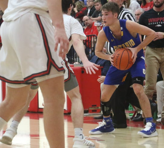 Ontario's Griffin Shaver finished with a game-high 24 points in a 63-61 loss to Shelby on Saturday night.