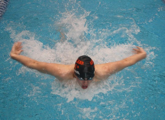 Ashland sophomore Rylan McDaniel, competing here in the 200 IM, repeated as Ohio Cardinal Conference champ in the 100 breaststroke