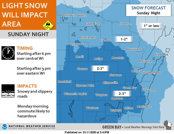 Light snow is expected to fall across central and northeast Wisconsin Sunday night into Monday morning.