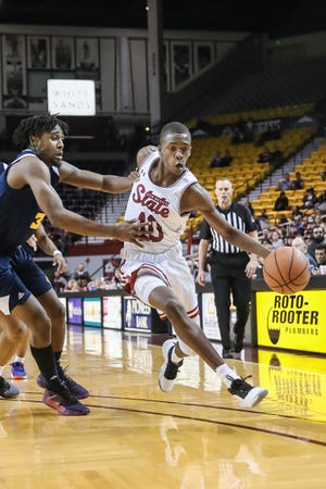 The NMSU Aggies face off against the Kansas City Roos at the Pan American Center in Las Cruces on Saturday, Jan. 11, 2020.