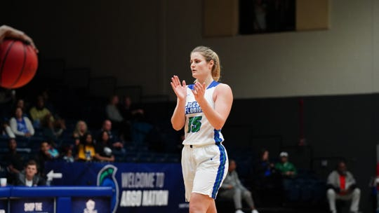 University of West Florida junior Danielle Norquest celebrates against Mississippi College on Jan. 11, 2020. Norquest currently leads NCAA Division II in double-doubles.