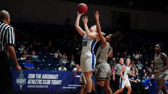 University of West Florida junior Danielle Norquest goes up for a layup against Mississippi College on Jan. 11, 2020. Norquest currently leads NCAA Division II in double-doubles.