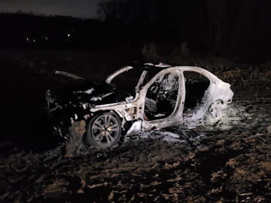 2017 Mercedes Benz C330-4 Matic found burned in a cornfield in Harford County.