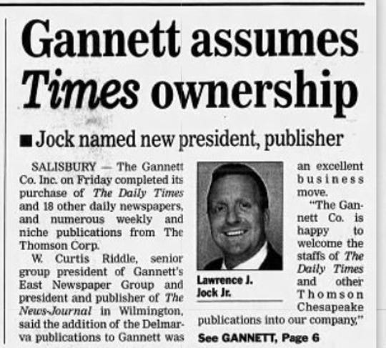 Larry Jock seen in a clipping from July 2000, becoming the president and publisher of The Daily Times in Salisbury Maryland