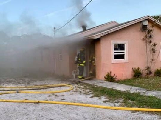 St. Lucie County Fire District responded to a fire to an Avenue I home in Fort Pierce that displaced three adults and one teenager, Saturday evening.