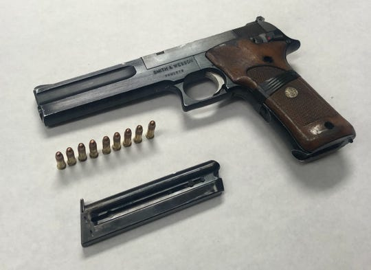 Police say they founded a loaded handgun in a vehicle after the driver led them on a short chase Saturday night.