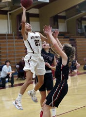 Arlington's Mia Castillo (23) goes up for a shot against Rye during girls basketball action at Arlington High School in Freedom Plains Jan. 11, 2020. Arlington won the game 67-60.