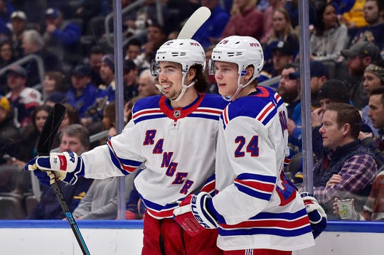 Jan 11, 2020; St. Louis, Missouri, USA;  New York Rangers center Filip Chytil (72) is congratulated by right wing Kaapo Kakko (24) after scoring during the first period against the St. Louis Blues at Enterprise Center. Mandatory Credit: Jeff Curry-USA TODAY Sports