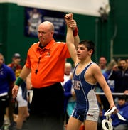 P.J. Duke from Carmel, top, after his 99 pound final during the final day of the Eastern States Classic wrestling tournament at Sullivan County Community College in Lock Sheldrake, Jan. 11, 2020.