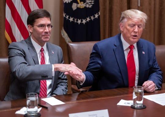 President Donald Trump and Defense Secretary Mark Esper on Oct. 7, 2019.