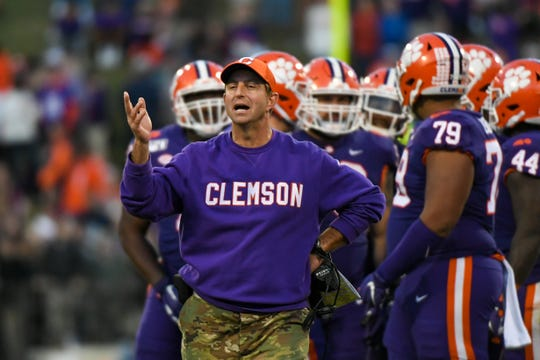 Clemson coach Dabo Swinney walks on the sideline during his team's game against Wofford in 2019 at Clemson Memorial Stadium.