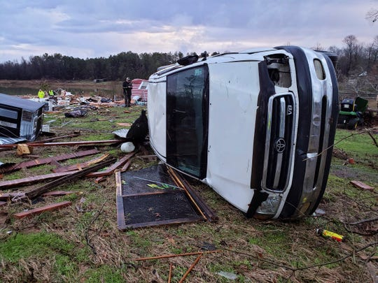 This photo from the Bossier Parish Sheriff's Office shows damage from Friday night's severe weather in Bossier Parish, La., on Saturday, Jan. 11, 2020.