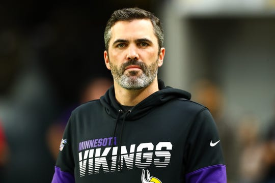 Minnesota Vikings offensive coordinator Kevin Stefanski looks on before the start of a game against the Denver Broncos at U.S. Bank Stadium.