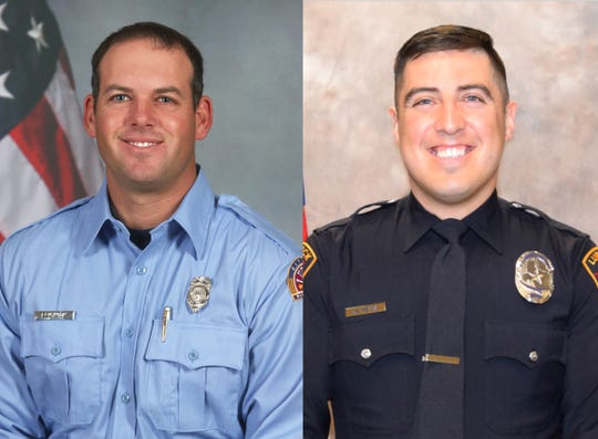 Lubbock, Texas, firefighter Lt. Eric Hill, left, and Lubbock police Officer Nicholas Reyna.