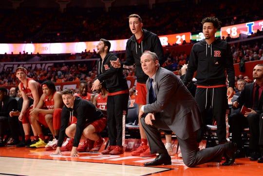 Rutgers Scarlet Knights head coach Steve Pikiell looks on against Illinois