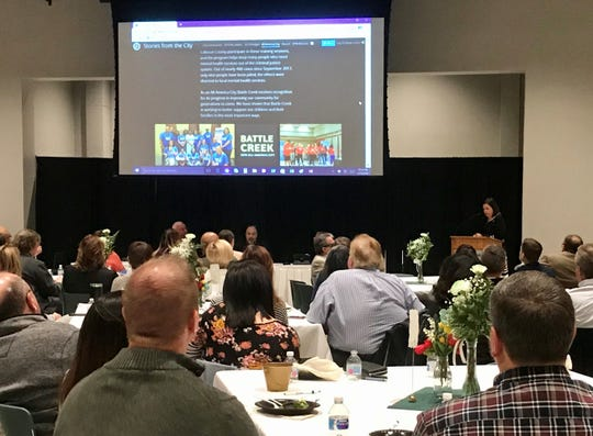 City Manager Rebecca Fleury speaks at the State of the City presentation on Jan. 13, 2020.