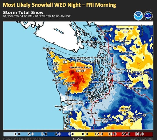 The National Weather Service in Seattle says that winds in the area beginning on Wednesday could result in snow for the Kitsap Peninsula.