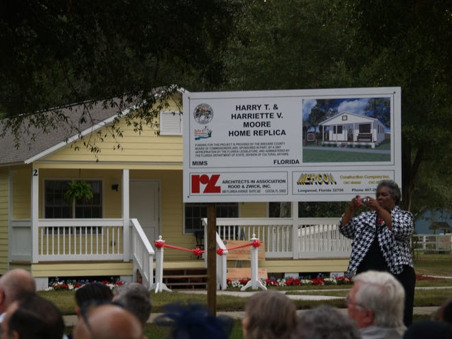 A replica of the home once owned by Harry T. Moore is dedicated and opened to the public in 2009 at the Harry T. and Harriette V. Moore Memorial Park in Mims. This is a replica of the home where Moore and his wife were when members of the Ku Klux Klan detonated a bomb under their bedroom on Dec. 25, 1951, killing Harry Moore. Harriette died from her injuries nine days later.