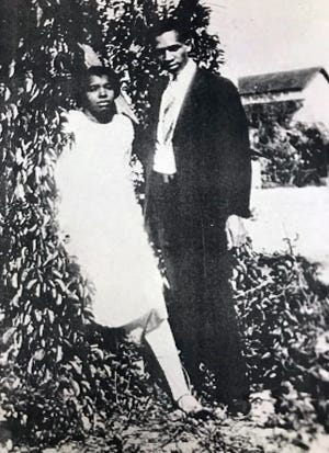 A young Harry T. and Harriette V. Moore in Mims in the 1940s.