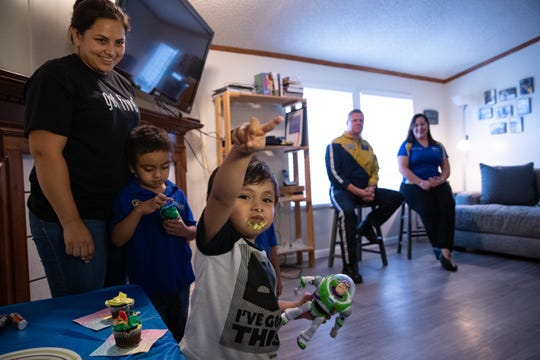Roque Gallegos, 2, along with his mother, Maryjo and his two brothers, meet with a crew from Halo Flight at Christus Spohn Hospital-Alice. The team saved his life on Christmas Day after he choked on a marble-like ball.