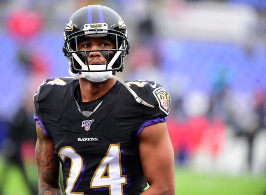 Dec. 1, 2019: Baltimore Ravens cornerback Marcus Peters (24) looks on prior to the game against the San Francisco 49ers at M&T Bank Stadium.