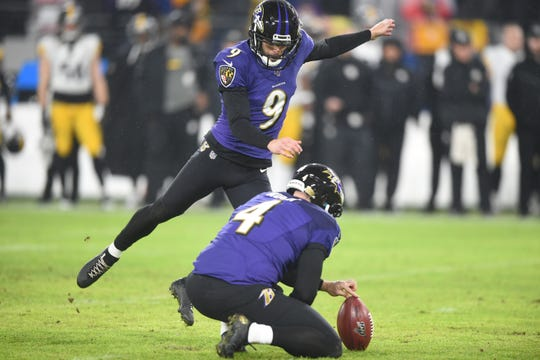 Dec. 29, 2019: Baltimore Ravens kicker Justin Tucker (9) kicks his third field goal of the game in the second quarter against the Pittsburgh Steelers at M&T Bank Stadium.