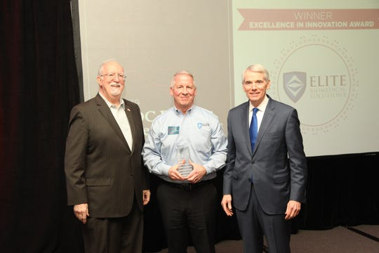 Pictured: (left to right) Executive Director of KlicWow and former SBDC Director, Mr. John Melvin; 2019 Small Business Excellence Award Winner, Jeff Smith, President of Elite Biomedical Solutions; and Senator Rob Portman at the 2019 Clermont Chamber of Commerce Annual Meeting and Small Business Excellence Awards.