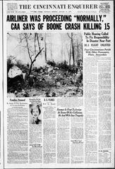 The Cincinnati Enquirer front page, Jan. 13, 1955, reporting a mid-air collision near the Greater Cincinnati Airport.