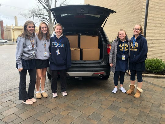 Saint Ursula Academy Personal Care Drive Coordinators Audrey Kirwin of Hyde Park, Linsey Klug of Pleasant Ridge, Liz Summers of Miami Heights, Megan Balda of Union Twp., and Izzy Mitchell of Terrace Park.
